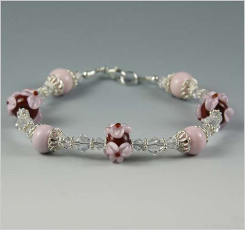 Pink Flower and Maroon Glass Lampwork Bead Bracelet