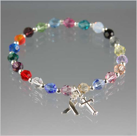 Cancer Awareness Bracelet w/ Cross