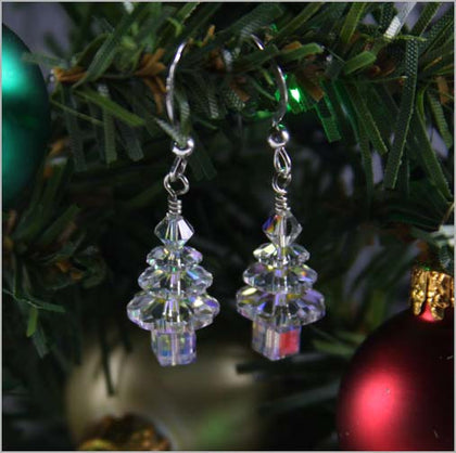 Swarovski Crystal Christmas Tree Earrings - Clear
