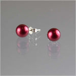 AAA+ Cranberry Pearl Stud Earrings