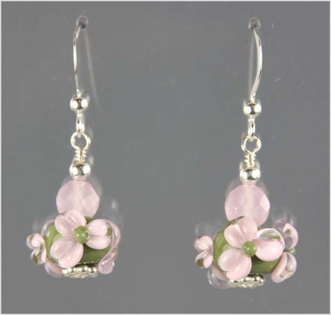 Olive and Pink Flower Lampwork Glass Earrings