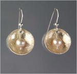 Metallic Pearl and Silver Hammered Dome Earrings