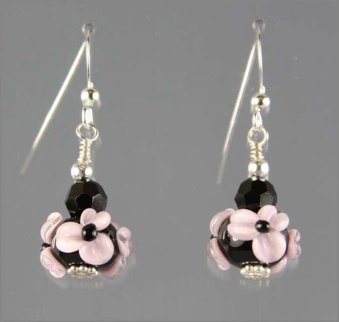 Pink and Black Flower Lampwork Glass Earrings
