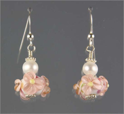 Pink and White Flower Lampwork Glass Earrings