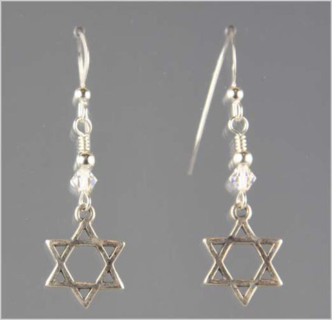 Star of David and Swarovski Crystal Earrings