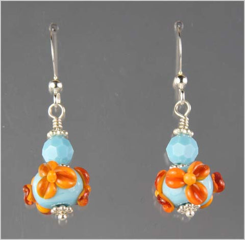 Turquoise and Apricot Flower Lampwork Earrings