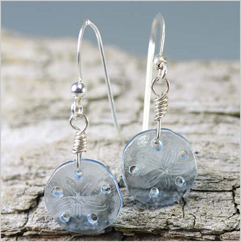 German Glass Sand Dollar Earrings