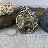 Sterling Silver Wire-Wrapped Mother of Pearl and Bronze Pendant