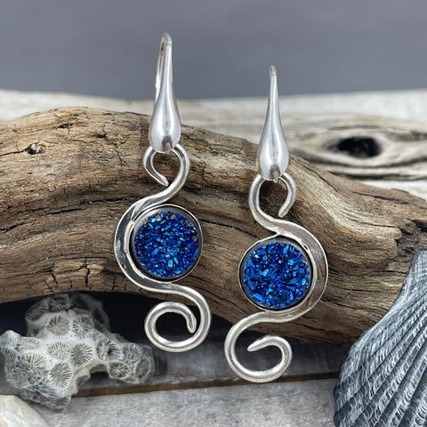 Cobalt Titanium Coated Druzy Swirl Earrings