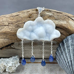 Druzy White Cloud with Sapphire Raindrops Necklace