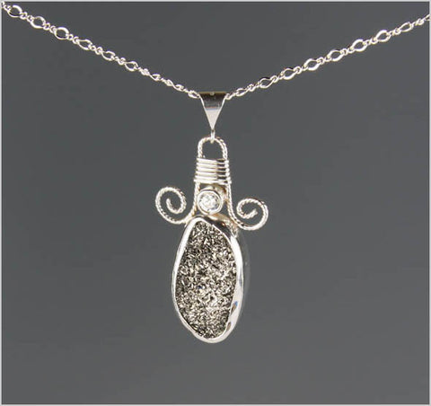 Silver Coated Druzy and Cubic Zirconia Necklace