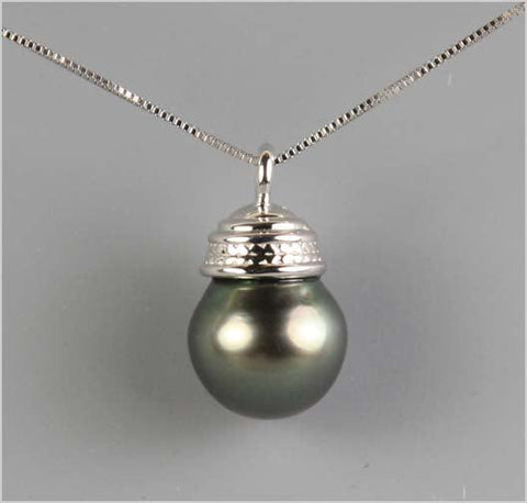 AA+ Tahitian Pearl set in 14K White Gold Necklace