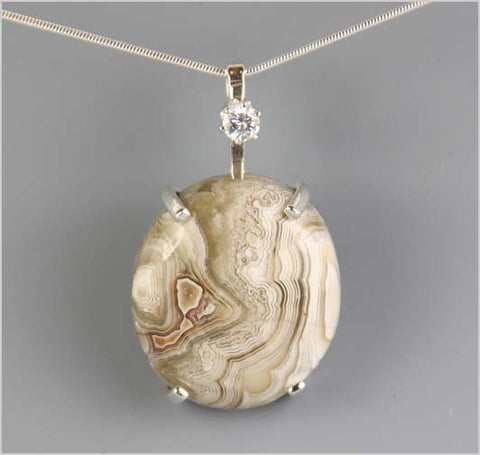 Laguna Lace Agate and Cubic Zirconia Necklace