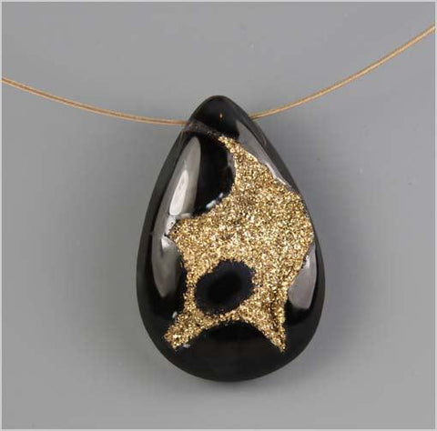 18K Gold Coated Onyx Druzy Necklace