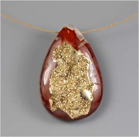 18K Gold Red Quartz Druzy Necklace