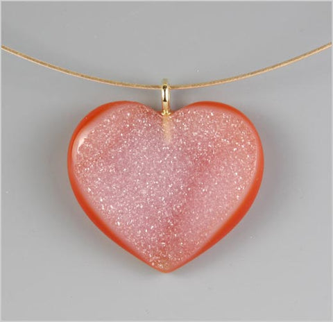 Druzy Heart on 14K Gold Cable Chain