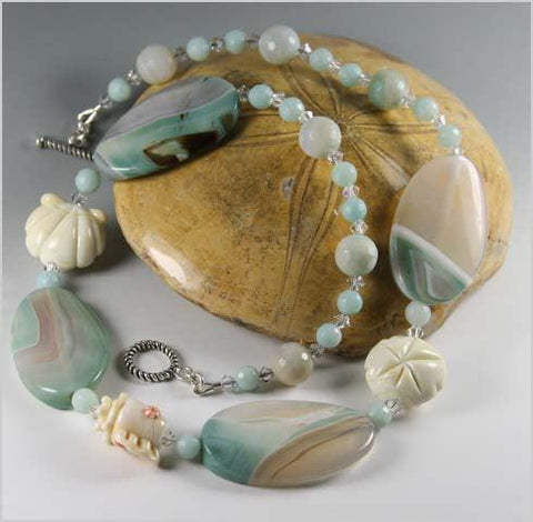 Amazonite and Lampwork Necklace