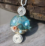 Beach themed Artisan Lamp-work Glass Bead Pendant