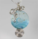 Cool Ocean Waves Glass Lamp-work Bead Necklace