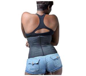 What Waist! Corset Body Shaper Latex Waist Trainer with Zipper