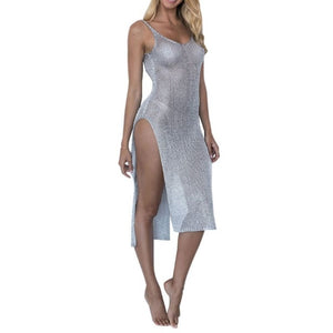 You See Right Thru Me! Sheer Metallic Mesh Bikini Cover Up Dress