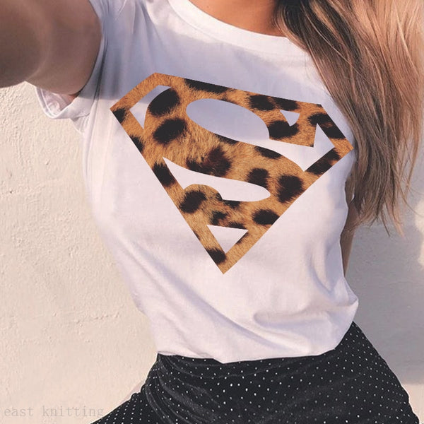 Super Girl! Super Woman Leopard Graphic Print T Shirt