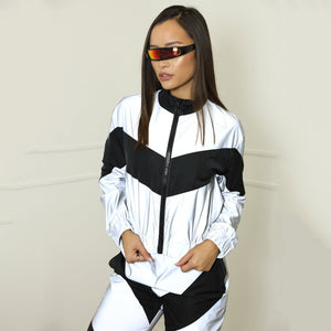 Go Glow!  Reflective Zip Crop Top Pants & Windbreaker