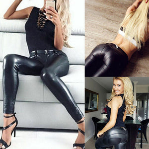 Don't Look Back! PU Leather Stretch Leggings