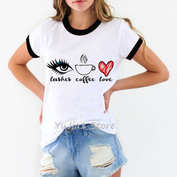 All I Need! Lashes + Coffee + Love Graphic Tee