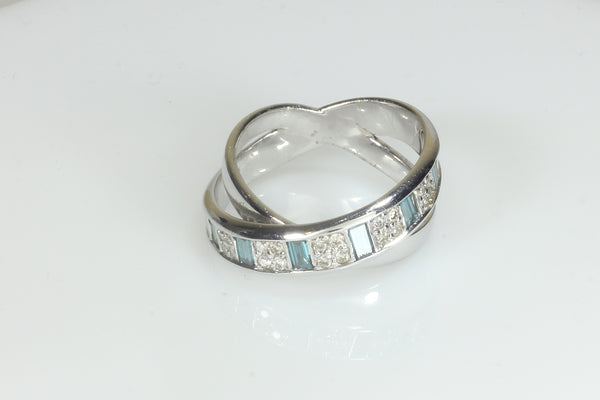 Italian Emerald cut blue and white diamond band