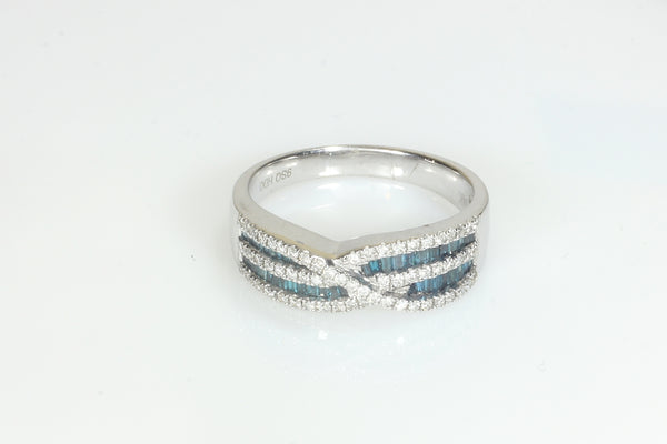Channel Set Blue Diamonds with White Diamonds