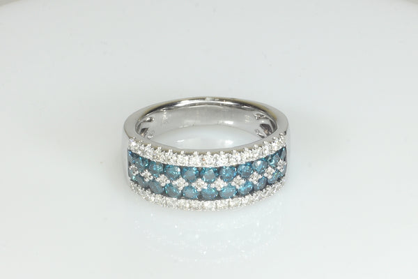 Blue and White Diamond Channel Set Band