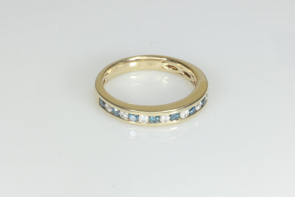Channel set Blue and White Diamond Ring