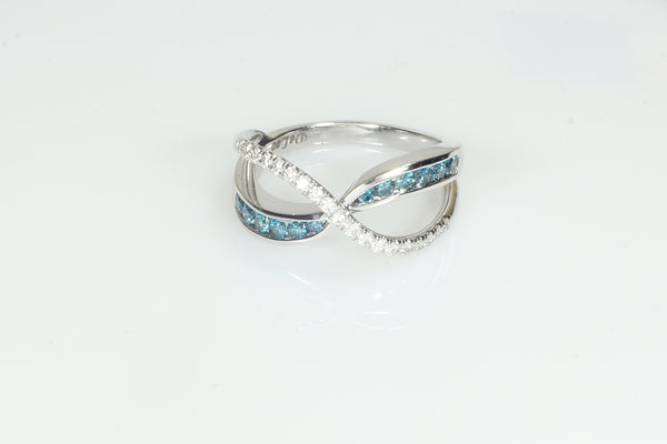 Delicate Blue and White Diamond Ring