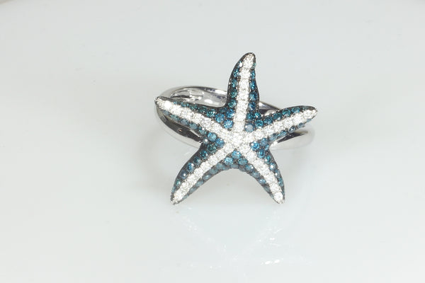 Blue and White Diamond Starfish Ring