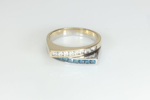 Modern Blue and White Diamond Ring