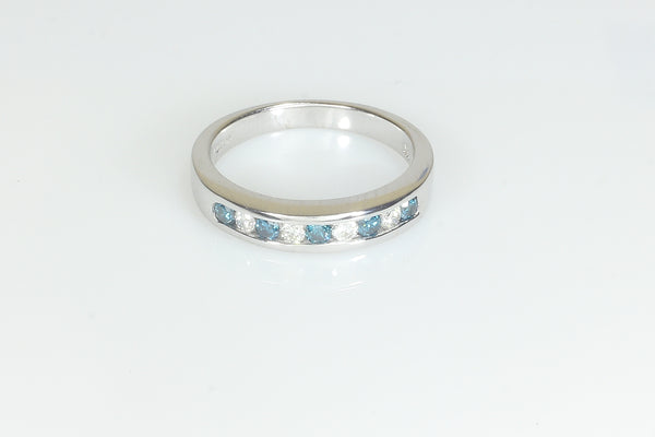 Blue and White Channel Set Diamond Ring