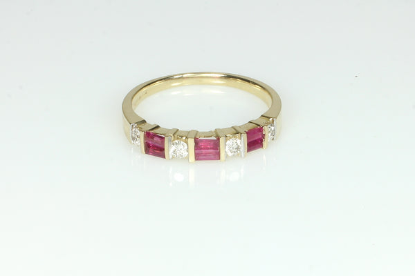 Ruby and Diamond Baguette Ring