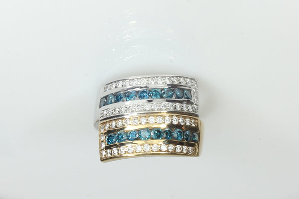 Two tone stacked blue and white diamond ring