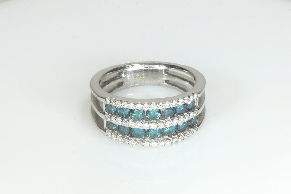 Channel set double row of Blue and White Diamonds