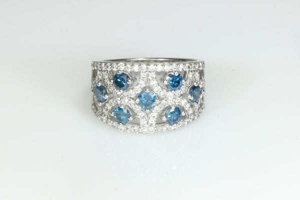 Blue and White Diamond Artistic Ring