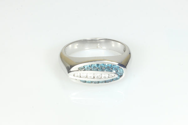 Artistic Blue and White Diamond Ring