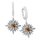 14 Karat White Gold Caribbean Sun Diamond Dangling Earrings with Natural Brown Diamond