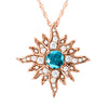 Large Rose Gold Caribbean Sun Necklace with Blue Diamond