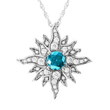 Large White Gold Caribbean Sun Necklace with Blue Diamond