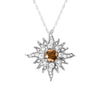Midsize White Gold Caribbean Sun Necklace with Natural Brown Diamonds