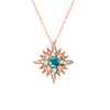 Original-Size Rose Gold Caribbean Sun Necklace with Blue Diamonds