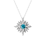 Original-Size White Gold Caribbean Sun Necklace with Blue Diamonds