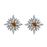 14 Karat White Gold Caribbean Sun Earrings with Natural Brown Diamonds