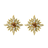 14 Karat Yellow Gold Caribbean Sun Earrings with Natural Brown Diamonds